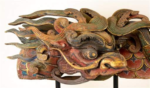 19th C Chinese Wood Dragon Architectural Elements