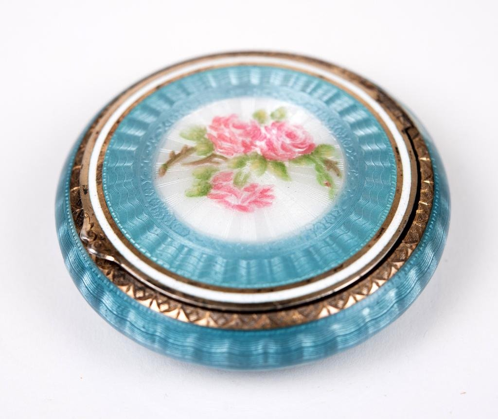 Antique F&B Sterling Guilloche Enamel Compact