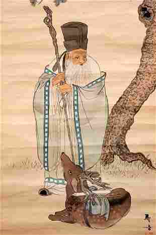 Signed Chinese Watercolor Scroll Old Man and Deer