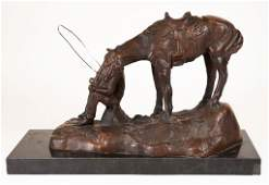 Western Cowboy and Horse Bronze, Signed