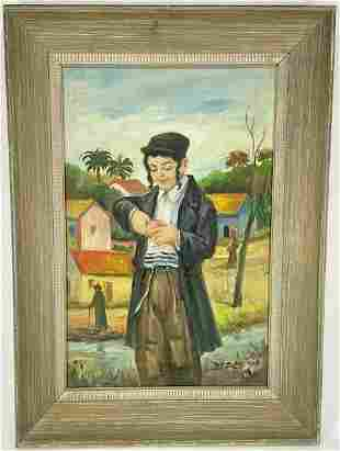 Hasidic Boy Peeling Fruit Oil Painting