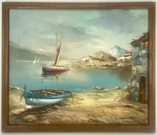 Signed Harbor Scene Oil Painting