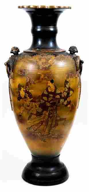 Antique Large Satsuma Floor Vase