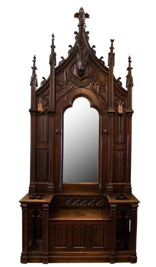 Gothic Revival Hall Tree with Mirror, Bench Seat