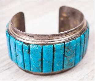 Vintage Signed Silver & Turquoise Cuff Bracelet