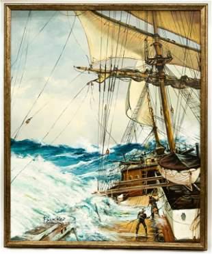Signed Oil Seascape, F. Sanchis