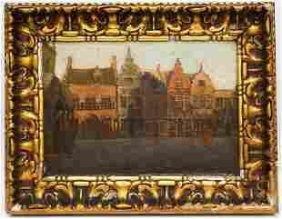 Antique Figural Street Scene Oil Painting