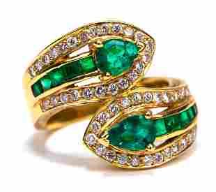 Emerald & Diamond 18K Gold Bypass Ring