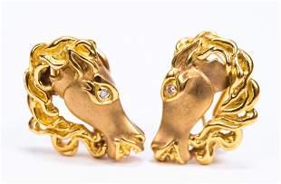 18K Gold & Diamond Figural Horse Head Earrings