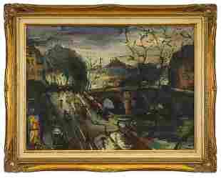 Olivier Foss (1920-2002) Paris Cityscape w Bridge