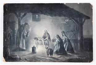 R.J. Dymond (British, Early 20th C.) O/B Nativity