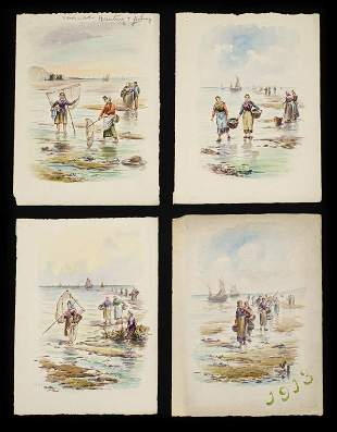 1913 Figural Landscape Watercolor Grouping