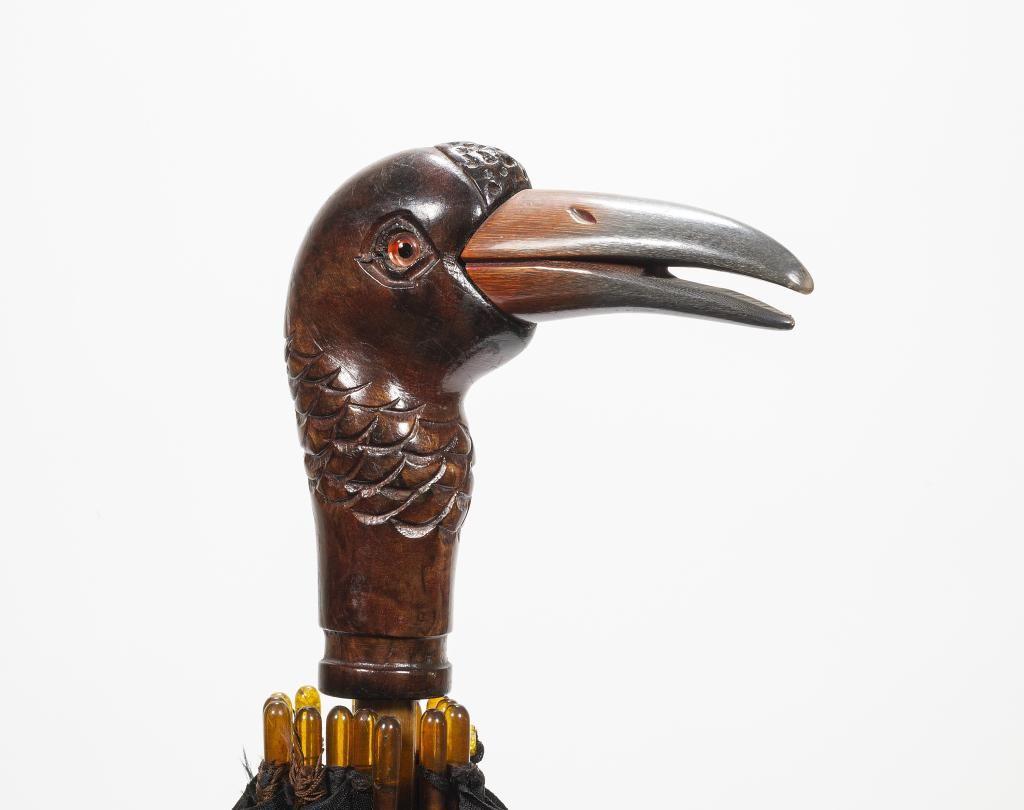 Carved Wood Bird Head Umbrella