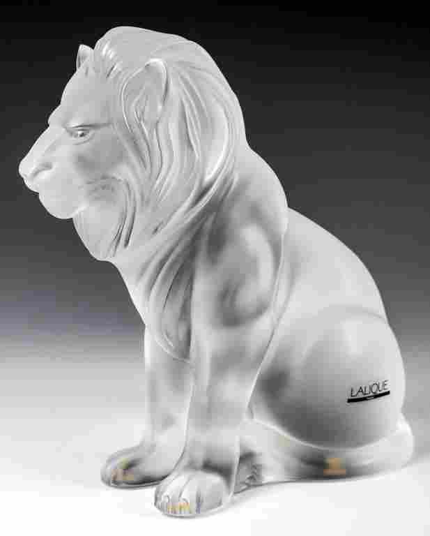 Lalique Crystal Lion 'Bamara' Sculpture