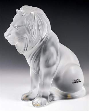 Lalique Crystal Lion 'Bamara' Sculpture