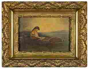 Signed 19th C. Figural Landscape Oil Painting