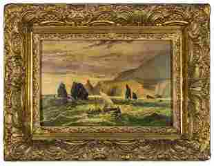 19th Century Framed Seascape Oil Painting