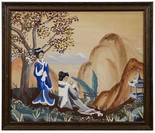 Japanese Figural Landscape Signed Remy