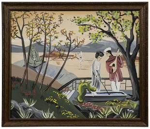 Signed Japanese Figural Landscape, Remy