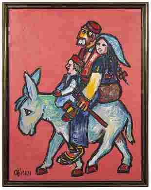 Jovan Obican Oil Painting: The Traveling Family