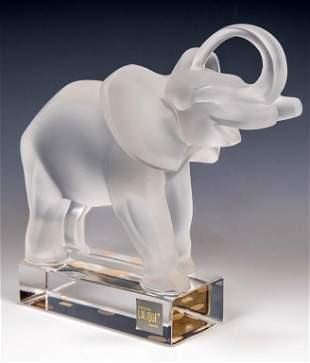 Lalique Glass Trunk Up Elephant