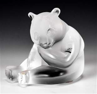 Lalique France Frosted Glass Panda Sculpture