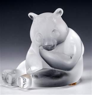 Lalique Glass Sculpture of a Panda