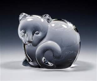 Tiffany & Co. Art Glass Cat Paperweight