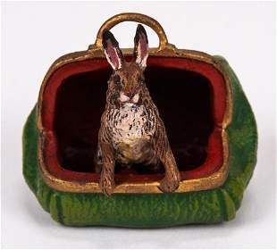 Vienna Cold Painted Bronze Rabbit In Bag