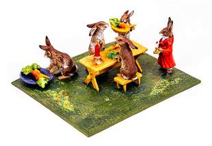 Vienna Cold Painted Bronze Rabbit Dinner Party