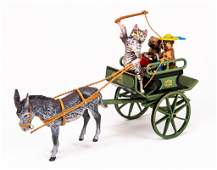 Vienna Cold Painted Bronze Figurine Cat Carriage