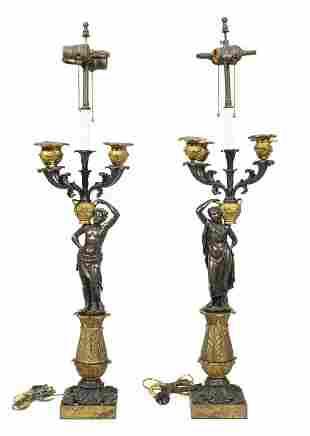 Dore Bronze Grecian Figural Table Lamps