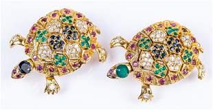 Vintage Jeweled Turtle Pendant Pin Lot