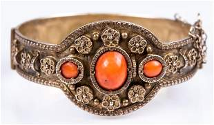 Antique Silver & Coral Cuff Bracelet