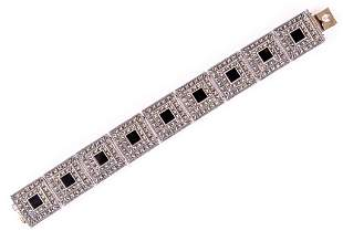 Judith Jack Sterling, Onyx & Marcasite Bracelet