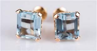 Estate 14K Rose Gold & Aquamarine Pierced Earrings