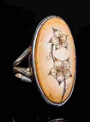 Signed Sterling Mexico Floral Bone Ring