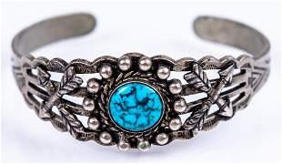 Native American Silver Tone Turquoise Cuff