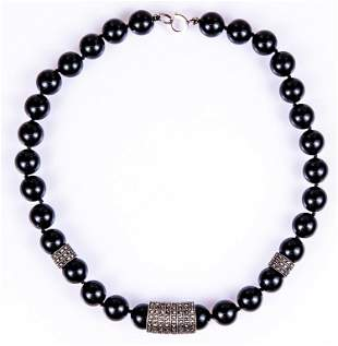 Onyx, Sterling & Marcasite Barrel Necklace