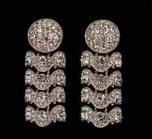 Deco Style Rhinestone Dangle Drop Earrings
