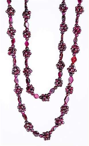 Antique Bohemian Garnet Cluster Necklace