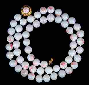 Vintage White Faux Coral Glass Bead Necklace