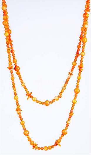 Designer Signed Zoe B. 14K Coral Bead Necklace