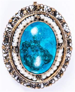 Estate Sterling Turquoise & Pearl Pendant Pin
