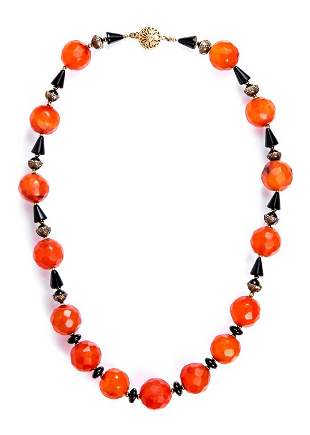 Antique Faceted Carnelian & Onyx Bead Necklace