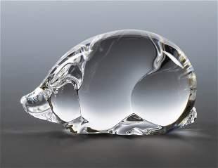 Steuben Glass Pig Sculpture / Hand Cooler
