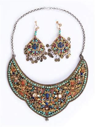 Jeweled Silver Parure - Bib Necklace & Earrings