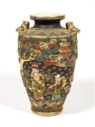 Large Antique Gold Gilt Japanese Satsuma Vase