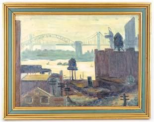 J. Heller New York Riverscape 1937 Oil Painting