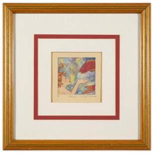 """Signed """"Interlude"""" Color Woodblock Framed"""
